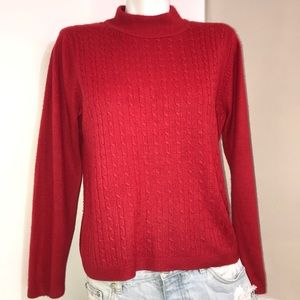 ALIA Petites Fire Red Cable Knit Mock Neck Sweater
